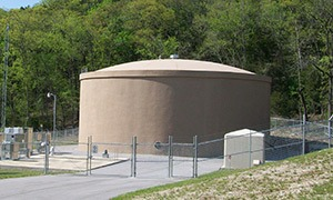 1.0 MG prestressed concrete storage tank in Branson, MO