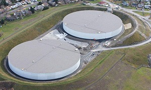 twin 32 MG prestressed concrete tanks East of the Rocky Mountains