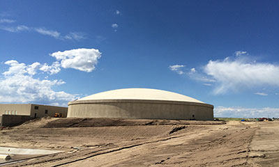 10 MG raw water prestressed concrete tank in CO