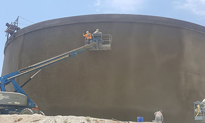 exterior application on the 2.0 MG wastewater treatment facility effluent reuse tank in Carlsbad, New Mexico