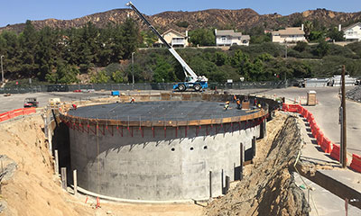 roof deck complete on the 2.0 MG thermal energy storage (TES) tank in Walnut, CA