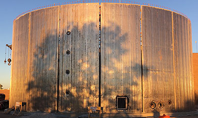 wall panel erection for 2.0 MG digested sludge tank in Albuquerque, NM