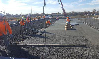 pump building foundation placement for the 10.0 MG prestressed concrete tank in Springfield, MO