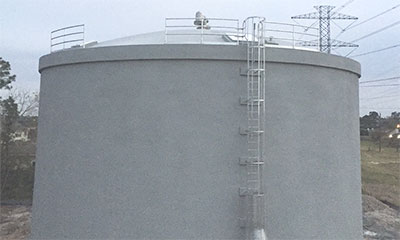completed 680,000 gallon prestressed concrete water storage tank project in Houston, TX