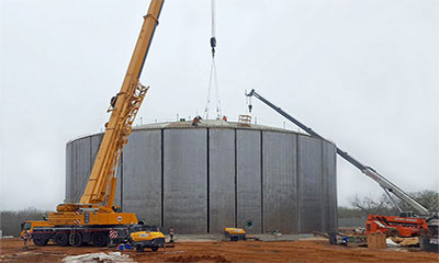 dome roof panel construction on 3.5 MG prestressed concrete water tank in San Antonio, TX