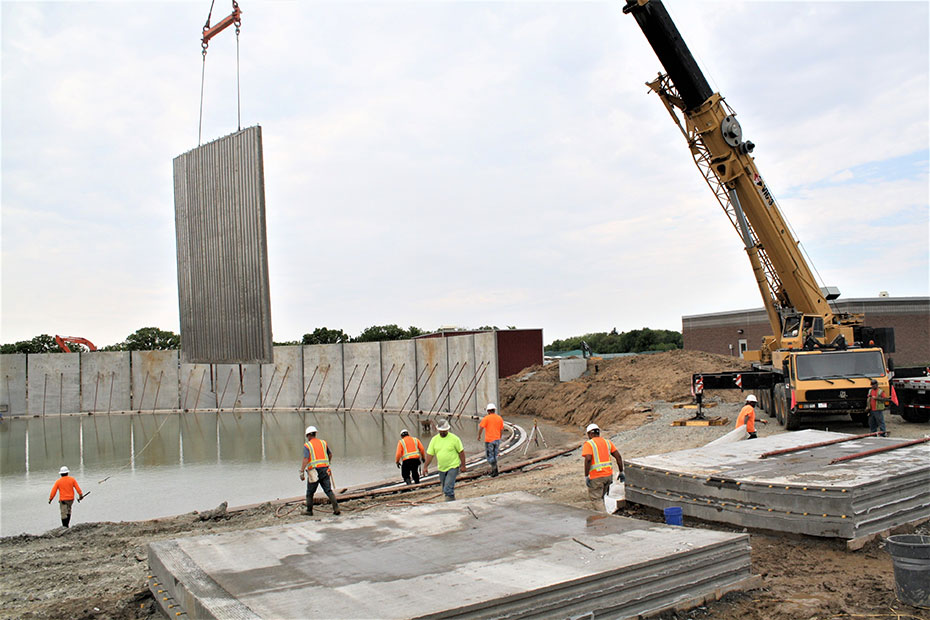 wall panel erection on the 4.3 MG open-top tank in Kasson, MN