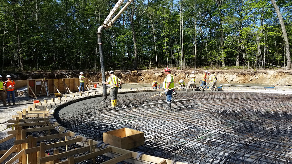 concrete floor placement on the 1.0 MG water storage tank in Johnston, RI
