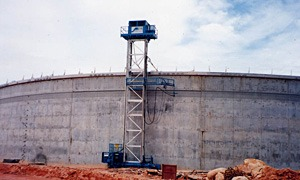 five prestressed concrete potable water storage tanks