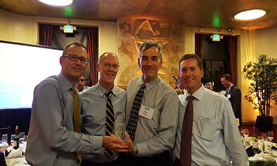 ASCE San Francisco section representatives and DN Tanks' Tom Bloomer accept project award