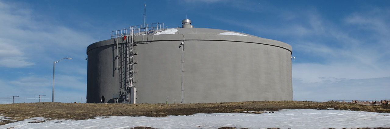 1.6 MG prestressed concrete tank at raw water pump station in Colorado Springs CO & Two 1.6 MG Tanks at Raw Water Pump Stations Aid in Delivering Water ...