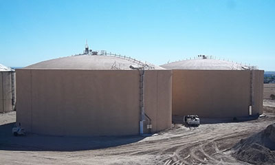 2-3.5 MG prestressed concrete tanks in Pueblo, CO