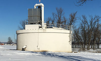 three prestressed concrete tanks in Luverne, MN