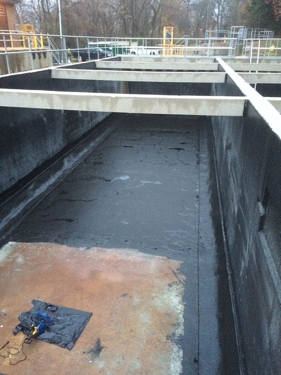 high performance elastomeric coating to be applied over the floor and wall