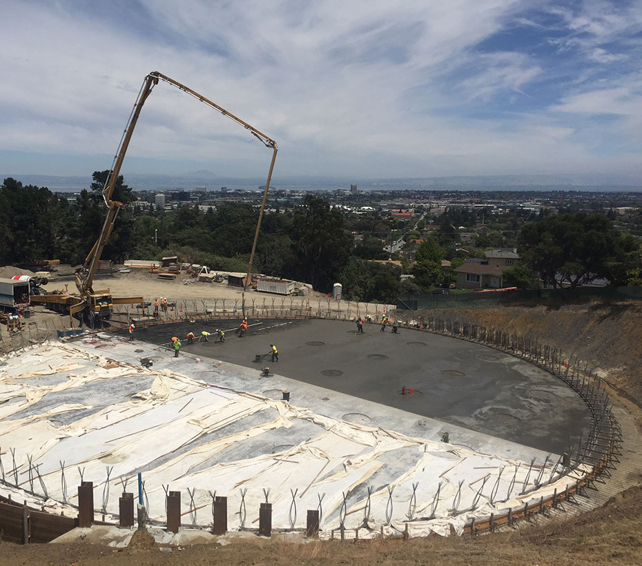 concrete placement for the 4.0 MG prestressed concrete tank in San Mateo, CA