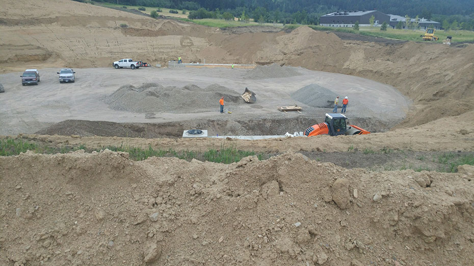 site preparation for a 5.33 MG AWWA D110 Type I reservoir in Bozeman, MT