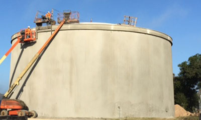 prestressing operations for a 1.0 MG circular prestressed concrete storage tank in Seguin, TX