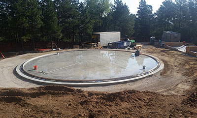 concrete floor construction for a 1.0 MG prestressed circular concrete tank in Colorado Springs, CO