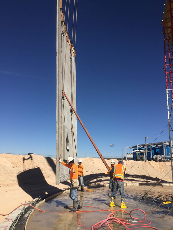 setting wall panels for the 1.0 MG ground storage tank in El Paso, TX