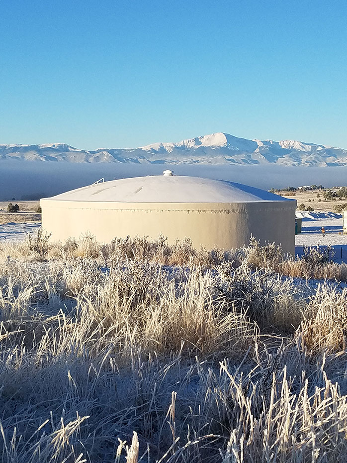 November 2017 DN Tanks photo contest winner of a 1.0 MG prestressed concrete tank in Sterling Ranch, CO